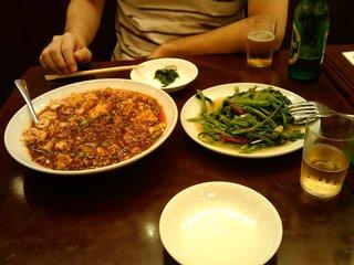 麻婆豆腐と空心菜