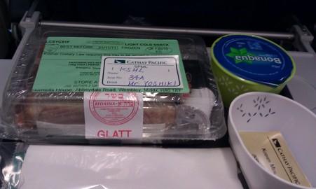 機内食はKosherなサンドイッチ