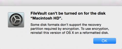 FileVaultが出来ない!