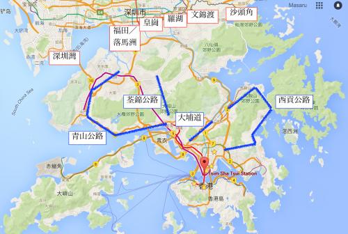 深圳→九龍の地図