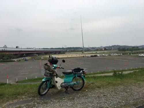 多摩川の白バイ練習場隣