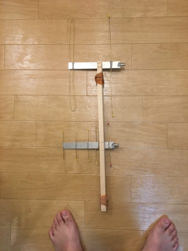 木の棒に括り付けてみたところ