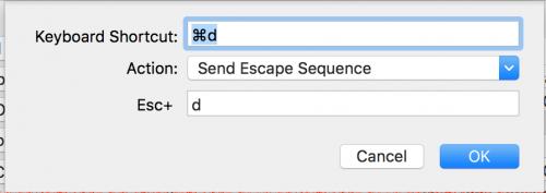キーボードショートカットの登録例1 : Send Escape Sequence