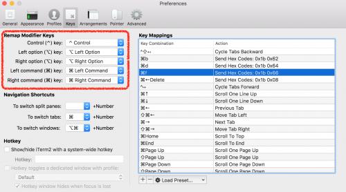 Remap Modifier keys の設定